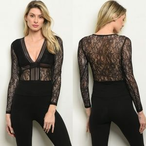 Black Lace Longsleve Bodysuit